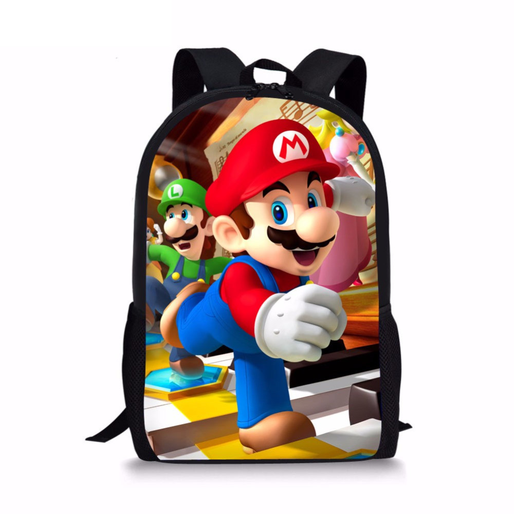 Coloranimal Super Children School Backpack Primary Student Anime Mario Bros Print Casual High Quality Schoolbag Kids Satchel
