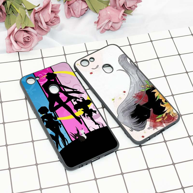 Black Silicon Soft Phone Case Sailor moon Anime Fashion For OPPO F5 F7 F9 A5 A7 R9S R15 R17 Phone Bag in Fitted Cases from Cellphones Telecommunications