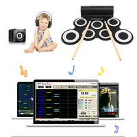 Electronic Roll Drum Pad Built In Speakers Digital Drum 9 Silicon Pad With Foot Pedals USB Charging Musical Instrument New