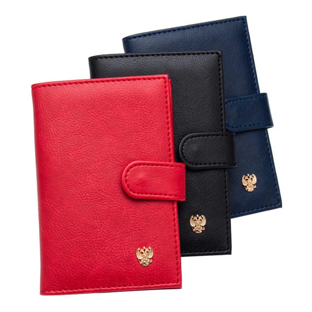 PU Leder Passport Abdeckung Männer Reise Brieftasche Kreditkarte Halter Abdeckung Russischen Fahrer Lizenz Brieftasche Dokument Fall