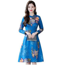 2018 New Winter Women Chinese Year Clothes Print Flowers Warm Slim Middle Waist Dress O-Neck Style Noble Ladies