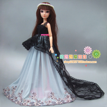 Free shipping gift for girl 1 piece large quality wedding dress For Barbie font b doll