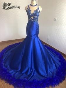 Image 3 - חם נוצת שמלות רויאל בלו אלגנטי בת ים ערב כותנות robe דה soiree נדל תוצרת באיכות גבוהה זול שמלת ערב למסיבה