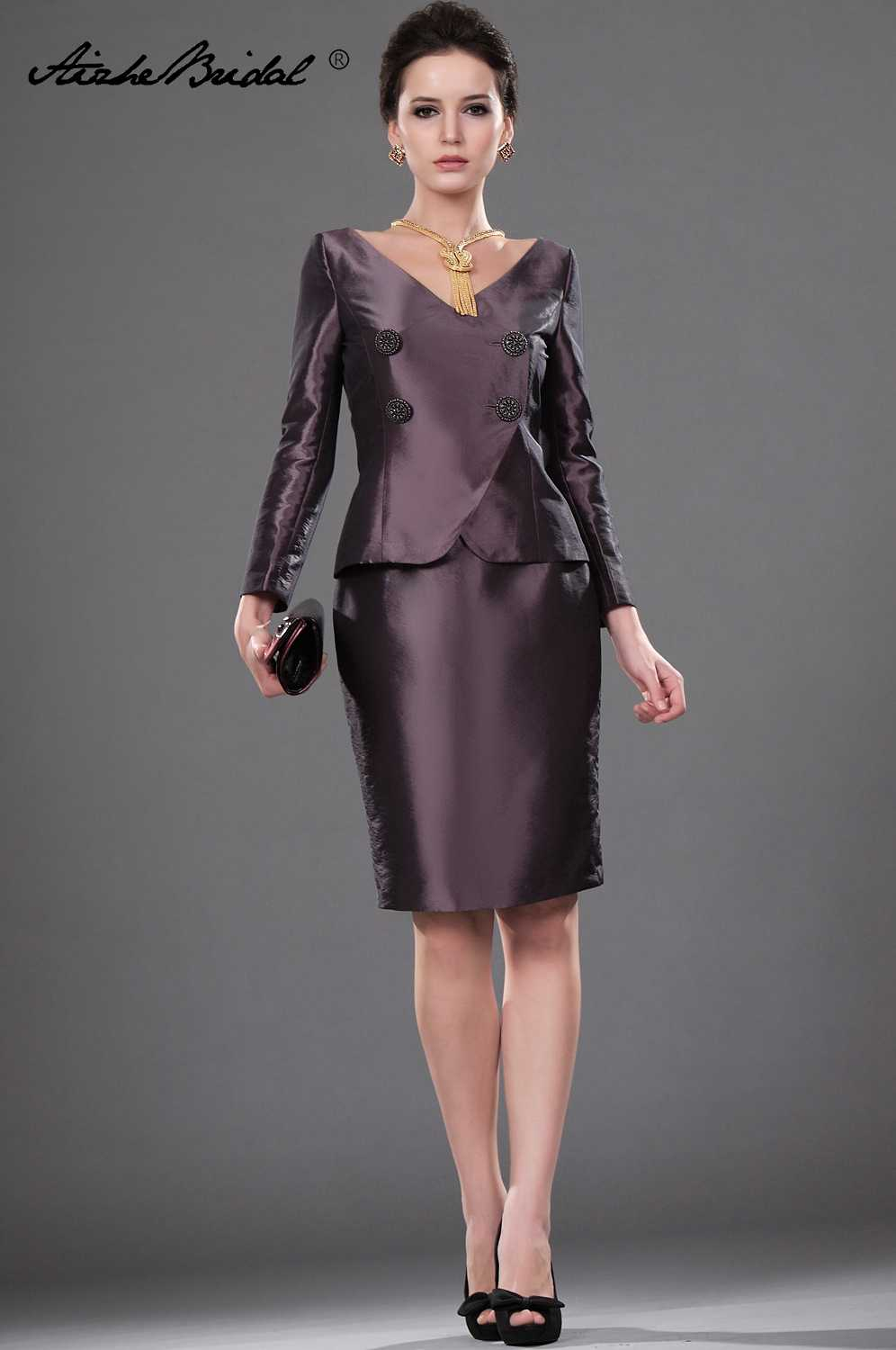 Wedding Party Dress Short Mother Of The Groom Dresses Simple Brown Taffeta  Full Sleeve Jacket Mother 4e1d9d5317c8