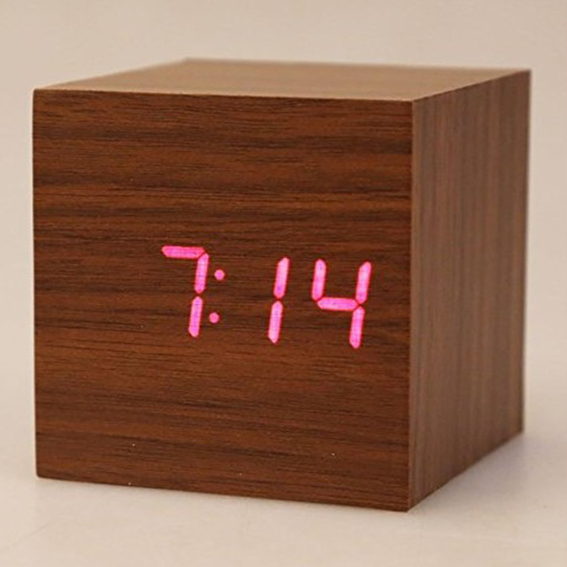 Classical Triangular Blue Digital LED Wood Wooden Desk Alarm Clock Thermometer