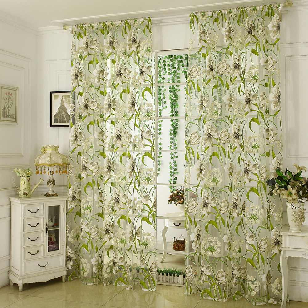 1pc Flower Printed Tulle Door Window Curtain Drape Panel Sheer Scarf Valances Drapes In Living Room Home Sheer Voile Valances