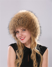 Fur hat female winter high quality raccoon fur mask hat thicker stretch hat