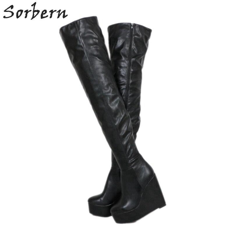 Sorbern Black Extrem High Heel Women Boots Wedges Thick Platform Custom Women Winter Boots Shoes Women