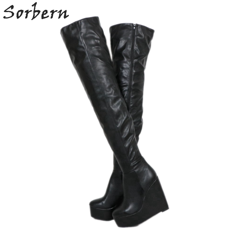 Sorbern Black Extrem High Heel Women Boots Wedges Thick Platform Custom Women Winter Boots Shoes Women Made-to-order