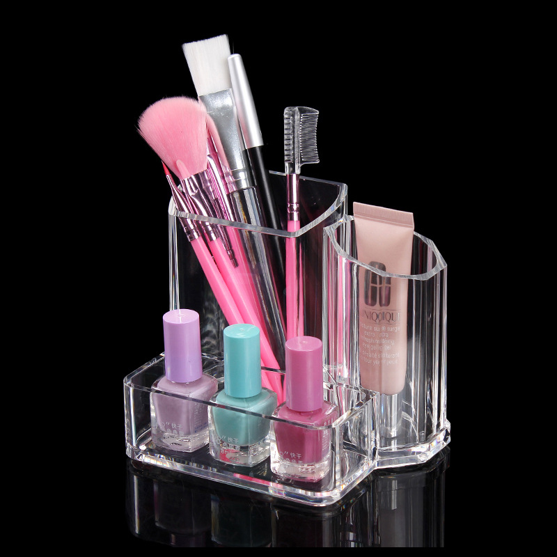 Transparent Makeup Storage Box Lipsticks Holder Cotton Pad Cotton Swab Container Acrylic Desktop Organizer Clear Cosmetic Case