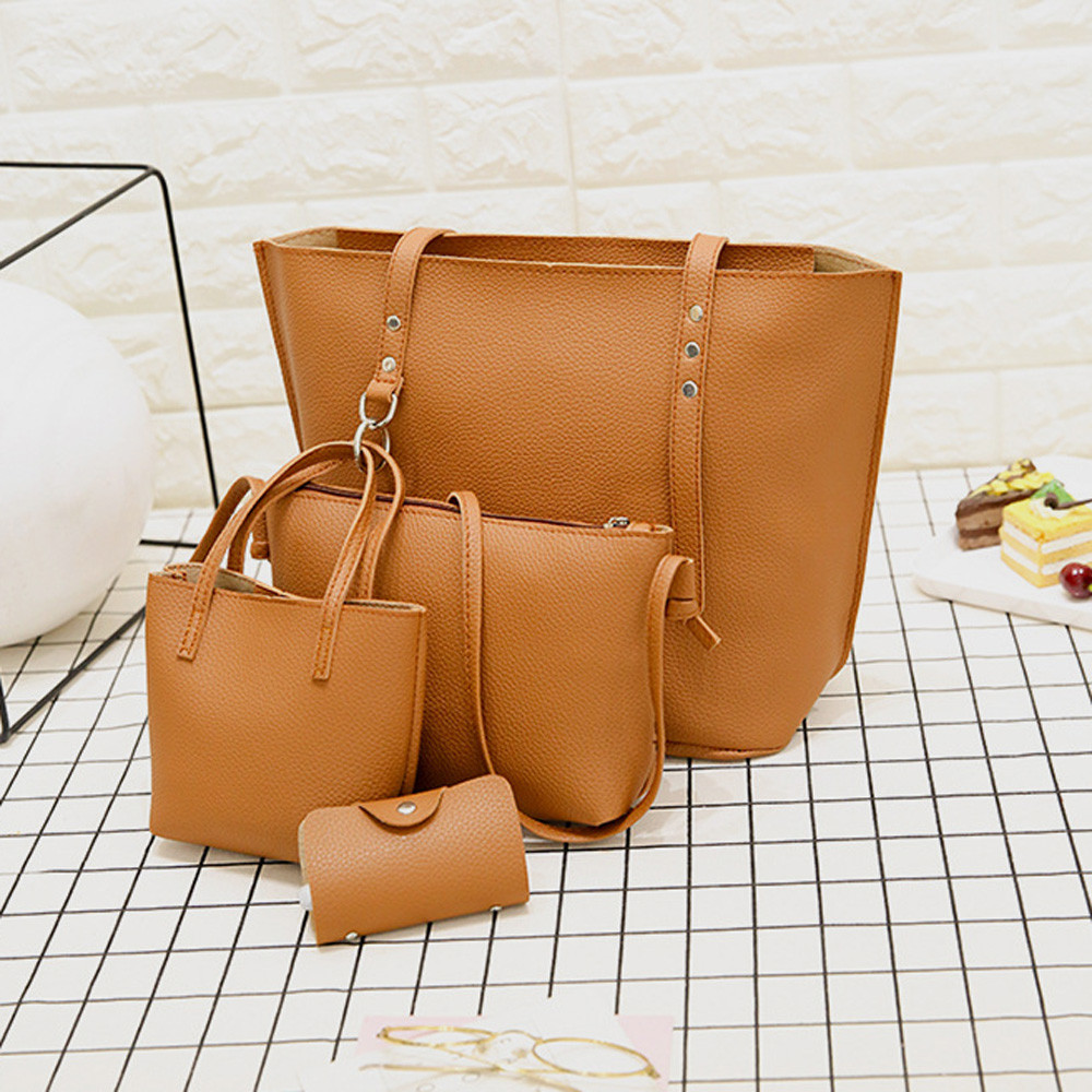 4Pcs Women Pattern Leather Bucket Shoulder Bag+Crossbody Bag Handbag Wallet Bolsos Grandes Para Mujer GH