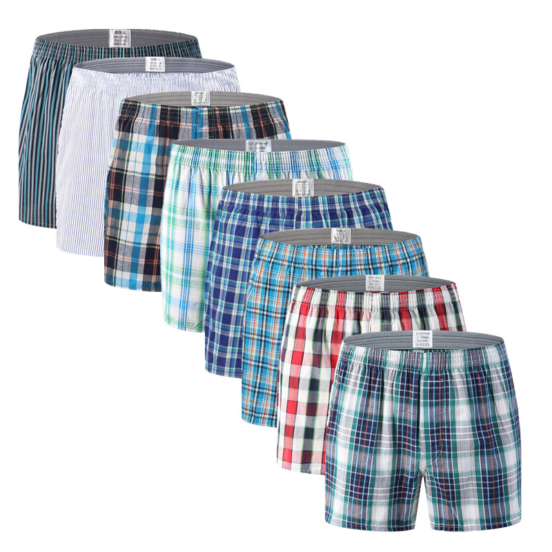 Mens Underwear Boxers Loose Stripe And Plaid Shorts Men's Panties Cotton Large Size Arrow Pants At Home Underwear Men