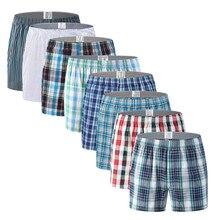 Трусы-боксеры мужские хлопковые в полоску, свободные шорты в клетку, нижнее белье, большие размеры