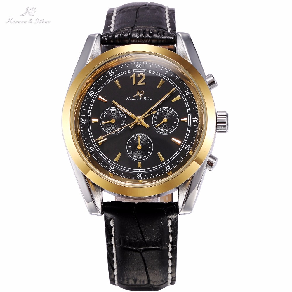 KS Black Golden Stainless Steel Case Automatic Mechanical Movement Analog Leather Strap Men Self Winding Casual Watches / KS172 ik 98111 stainless steel mechanical self winding analog wrist watch for men black silver