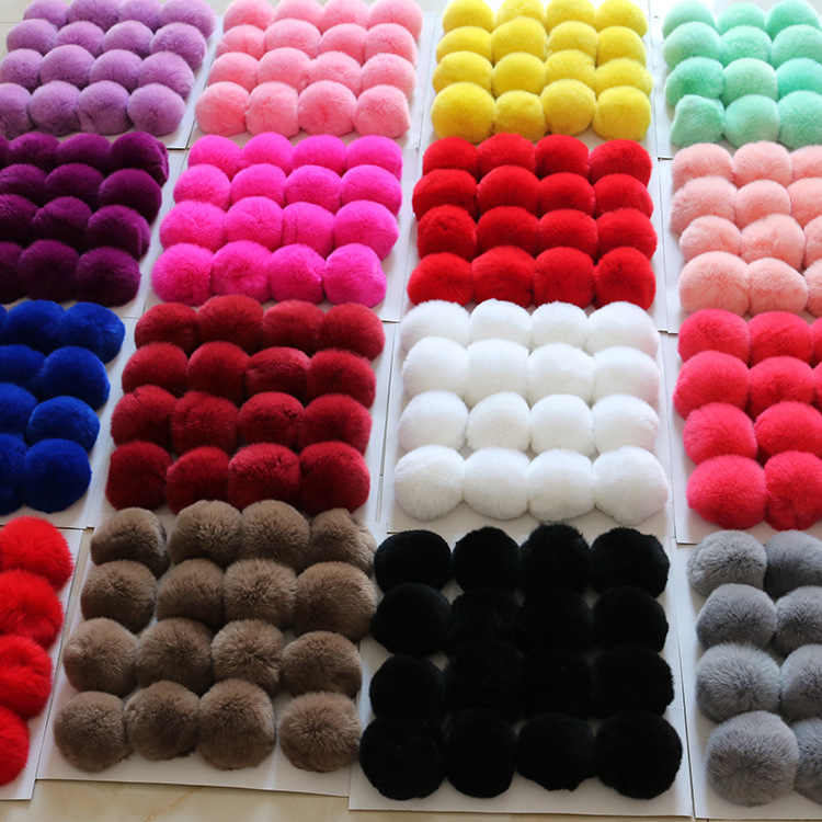 20 Colors Real Fur Ball 6cm Pompom Keychain Car pompon Rabbit Fur Ball Keychain Fur DIY Bag Charms With fluffy bunny Ponpon