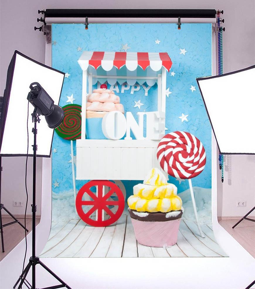 Laeacco prima zi de naștere din lemn tort de bomboane bomboane de - Camera și fotografia - Fotografie 3