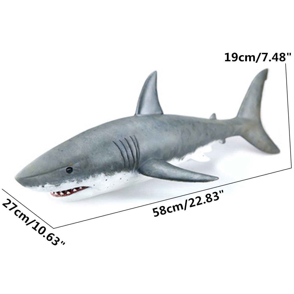 1:12 Scale Great 58cm White Shark Toy Action Figure Child Emulation Shark Model Toys Ocean Animal Model For Kids Learning Gifts hot toys great white shark simulation model marine animals sea animal kids gift educational props carcharodon carcharias jaws