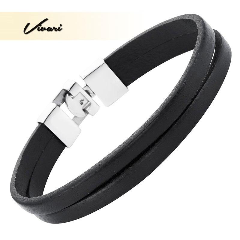Vivari 2017 Black Classic Genuine Women Leather Bangle Zinc Alloy fashion Men Bracelet Unisex Accessories
