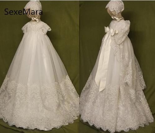 High Quality White Ivory Lace Baby Infant Christening Dress Baptism Gowns for Boys and Girls Christening Gowns with Bonnet