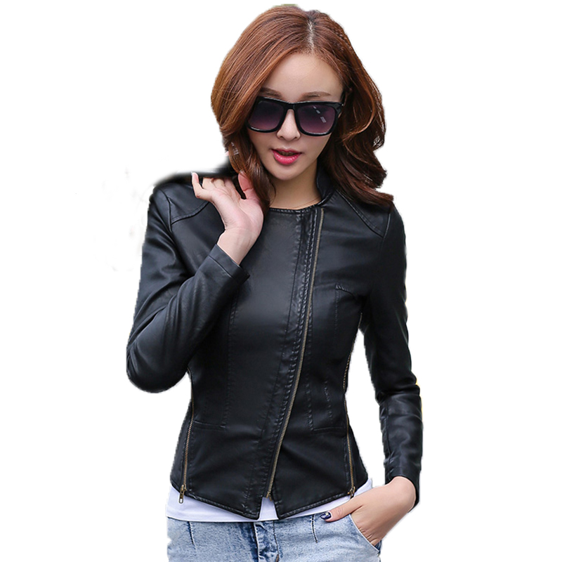Leather coat 2017 spring women leather jacket slim ...