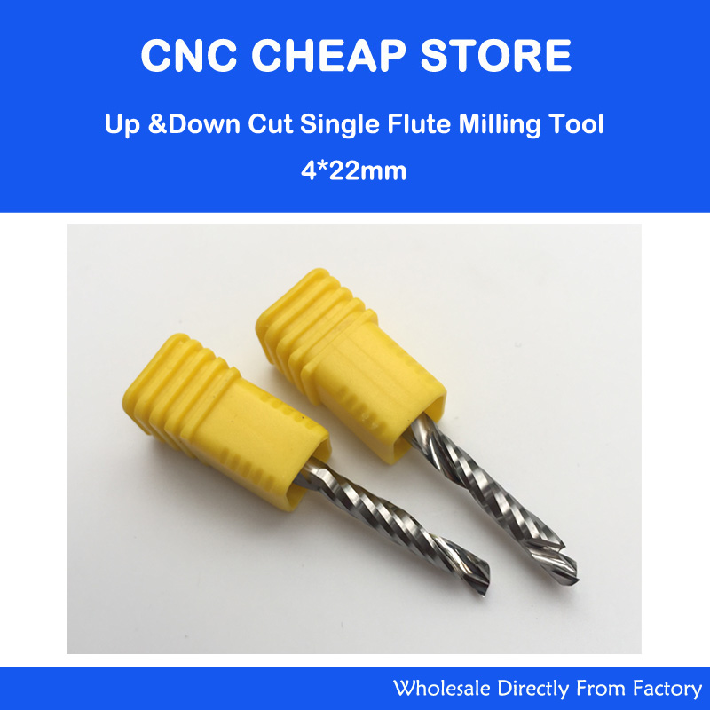 2PCS HQ UP & DOWN Cut 4x22mm Single Flute Spiral Carbide Mill Tool Cutters for CNC Router, Compression Wood End Mill Cutter Bits 3pcs high quality cnc bits single flute spiral router carbide end mill cutter tools 6x22mm free shipping