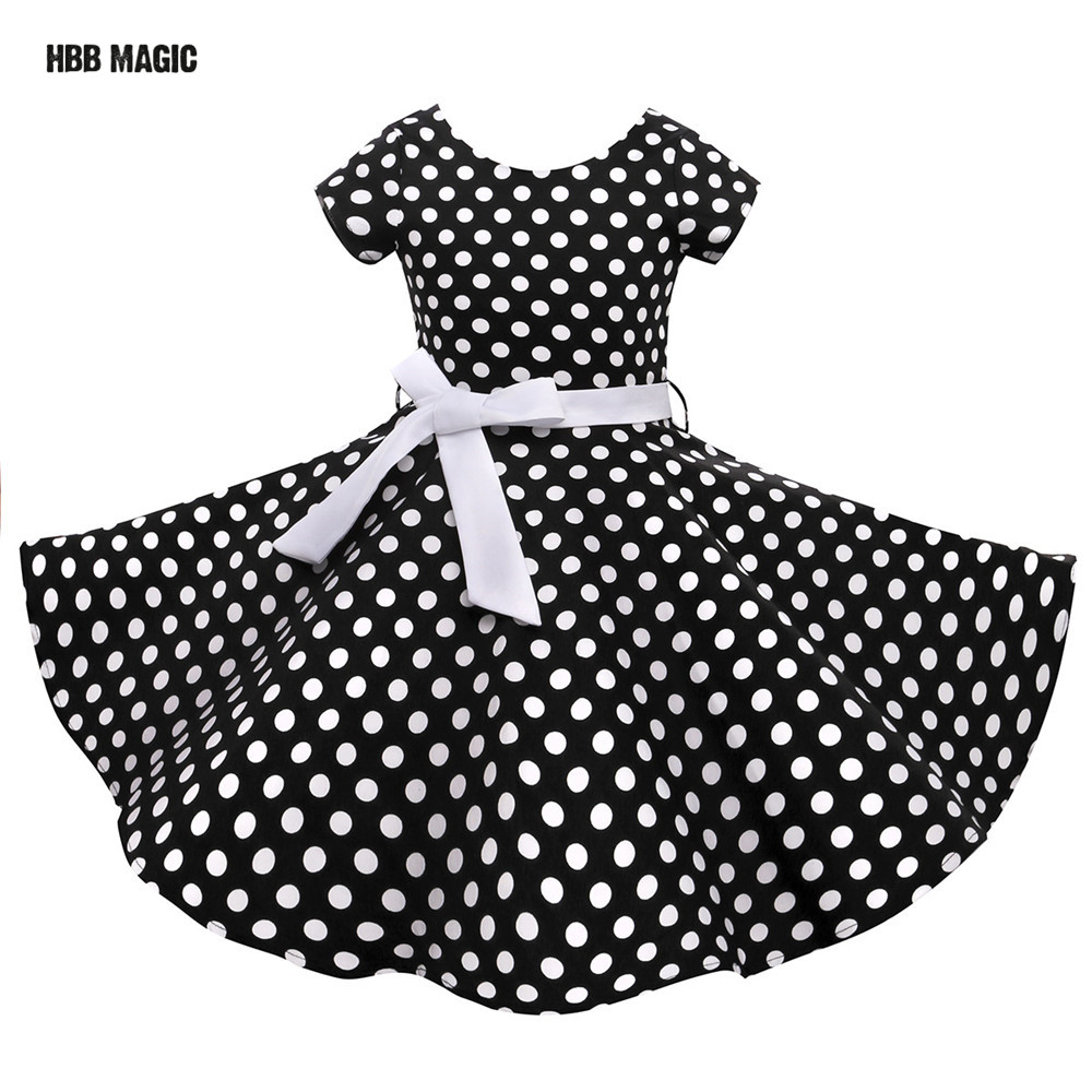 Red,Black Classy Audrey 1950s Vintage Rockabilly Swing Dot Girl Party Dress Summer Cotton Girls Clothes Kids Princess Dress music note party swing dress