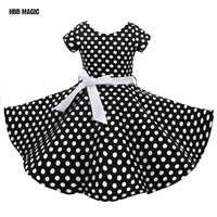 Red Black Classy Audrey 1950s Vintage Rockabilly Swing Dot Girl Party Dress Summer Cotton Girls Clothes