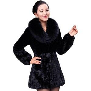 Casaco de pele do falso 2021 longo moda feminina europa e os estados unidos quente grande gola de pele de raposa cor sólida mex vestidos bcd1507083