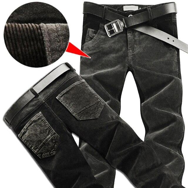 Мужская осень и зима толстые разделе вельветовые брюки случайные штаны Корейских Тонкий брюки ноги стрейч вельвет брюки шить