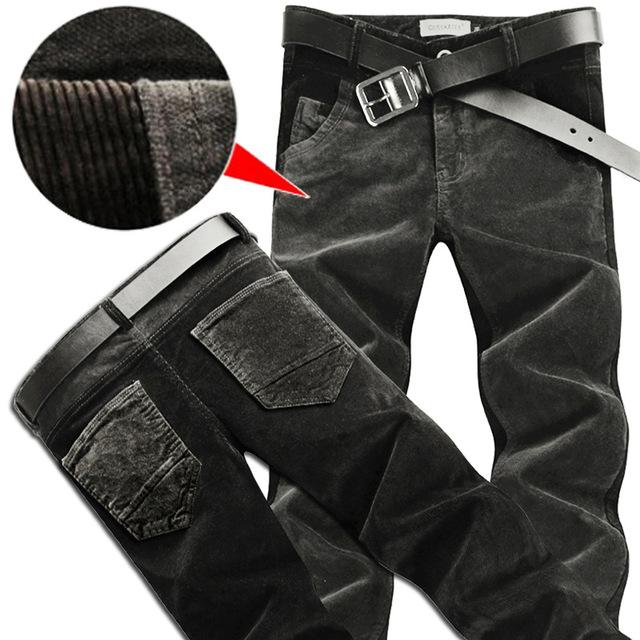 Outono e inverno seção de espessura de veludo calças dos homens calça casual Coreano calças Slim pés estiramento calças de veludo costura