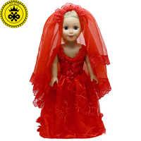 18 zoll Mädchen Puppe Kleidung Chinesischen Stil Rot Hochzeit Kleid für 18 zoll Mädchen Zubehör kinder Tag Geschenk 599