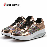 QIYHONG 2018 Fashion New Women Crystal Patent Leather With Glitter Causal Shoes Brand Design Lace Up Flats Golden Shoes
