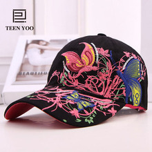High Quality Women Baseball Hat Fashion Butterfly And Flower Embroidered Cotton Summer Snapback Caps Lady Outdoor Sport Sun hats