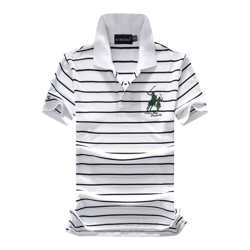 2018 Summer New Brandhorse Men's Striped Short Sleeve Polos Shirts Casual Mens Lapel Polos Shirts Cotton Fashion Slim Mens Tops