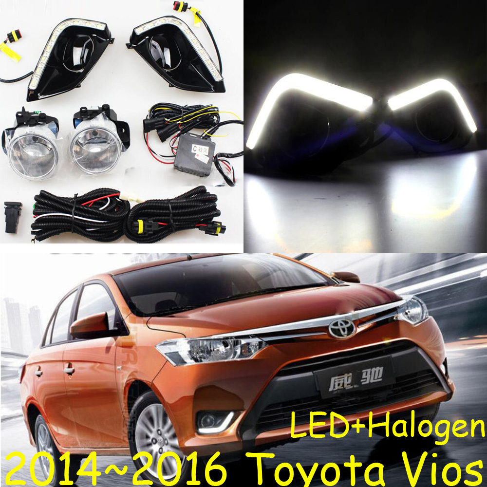 Car-styling,Vios fog lamp,2014~2016,chrome,LED,Free ship!2pcs,Vios head light,car-covers,Halogen/HID+Ballast;Vios vios headlight 2008 2012 2014 2016 free ship vios fog light vios driver light 4runner avalon camry hiace tundra sienna yaris l
