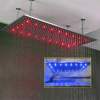 Rectangle douchekop 800*600 mm LED Rain Shower Large Shower Heads 304 Stainless Steel Wall Mounted Bathroom Faucet Accessories