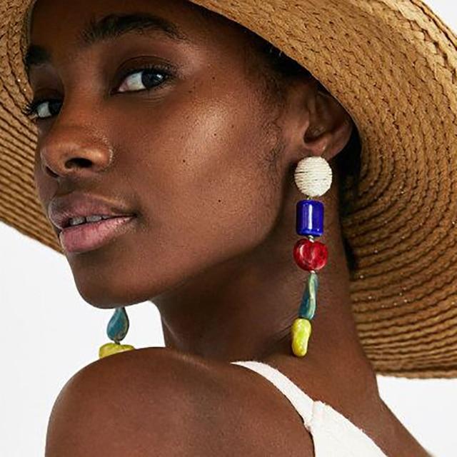 Best lady Irregular Resin Dangle Earrings Charm Multicolored Bohemian Wedding Ho