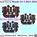 De alta qualidade sulco portão Slot apoio de braço de armazenamento borracha não tapetes antiderrapantes interior porta interior pad / copo 18 pcs Mazda CX-5 2015 2016 CX5