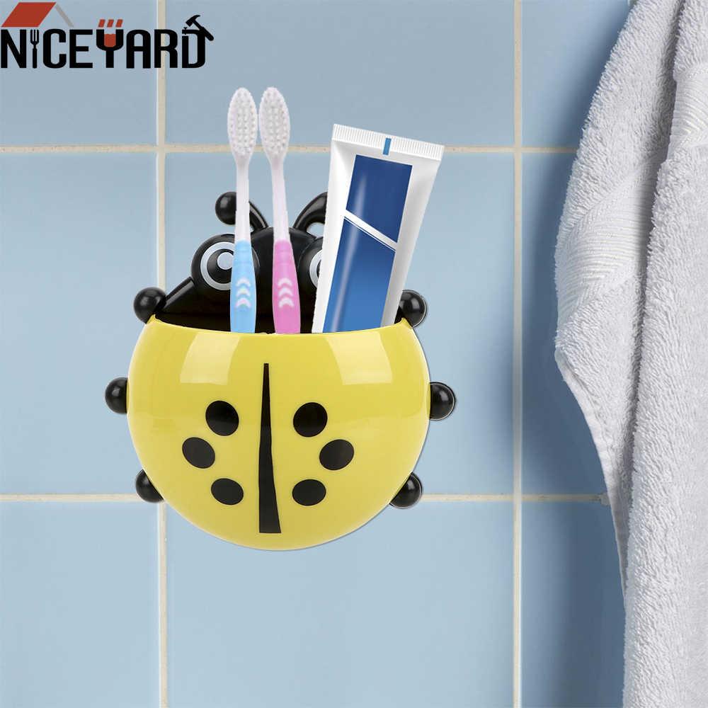 NICEYARD śliczne biedronka Sucker szczoteczka do zębów uchwyt dla dzieci dzieci przyssawki ściany ssania kubek na szczoteczki do zębów akcesoria łazienkowe