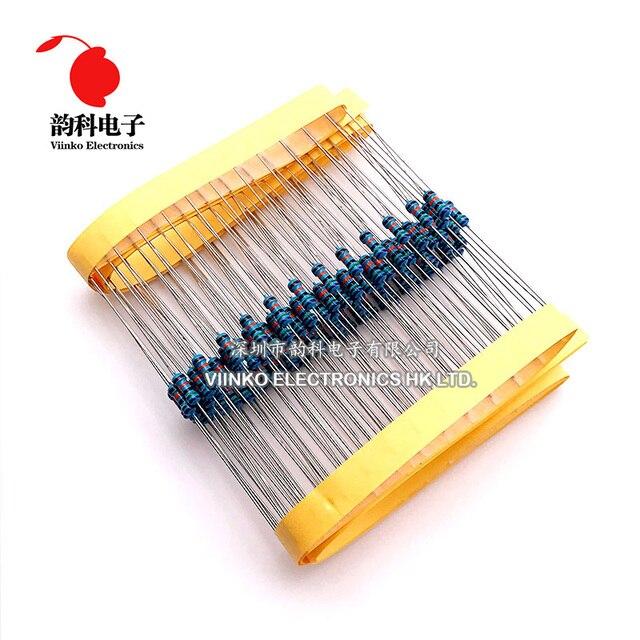 100pcs 1/4W 0R-22M 1% Metal Film Resistor 0.25W 0 2.2 10 100 120 150 220 270 330 470 1K 2.2K 4.7K 10K 100K 470K 1M 10M 20M ohms 2