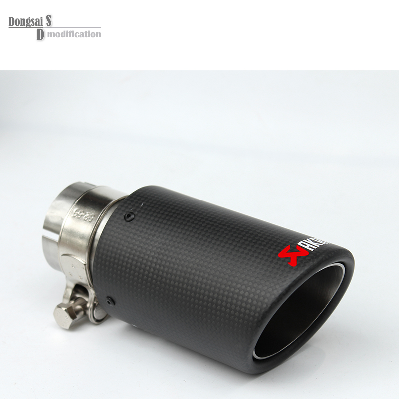 54mm / 76mm Car Styling Carbon Fiber + 304 Stainless Steel Akrapovic Exhaust Tip Muffler For Universal Car Tail Tip Exhaust Pipe stainless steel dual exhaust muffler tip tail pipe for bmw f30 320i 316i car styling