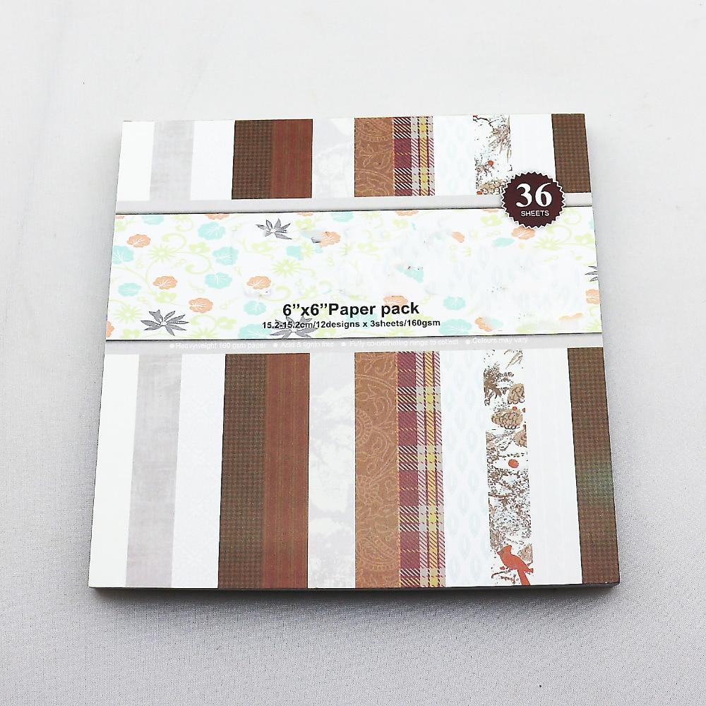 Scrapbook paper aliexpress - Vintage Plain Theme Scrapbooking Paper Kit Diy Photo Album Background Paper Pad Handmade Papercrafts 36sheets