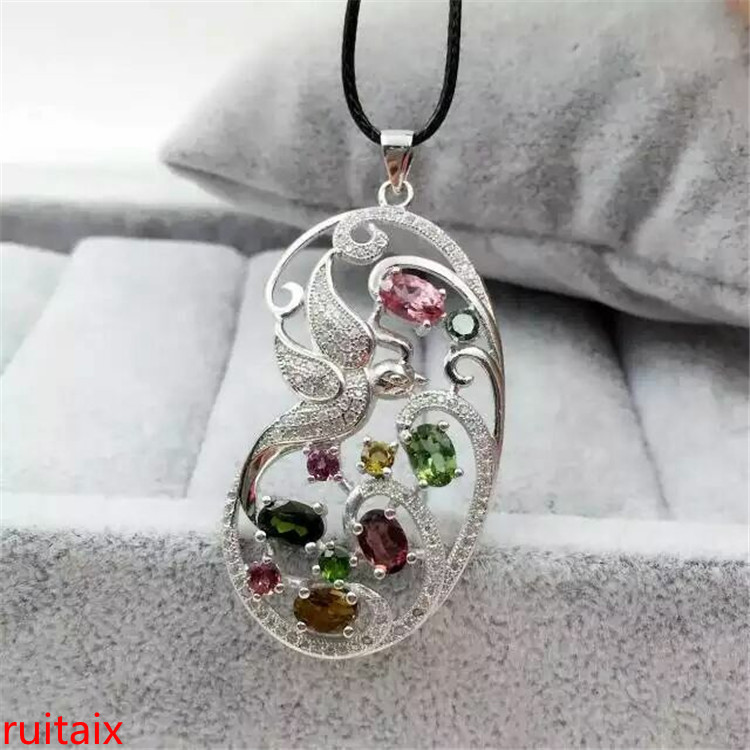 KJJEAXCMY boutique jewels S925 silver natural tourmaline pendant set ornaments wholesale gift box necklace.