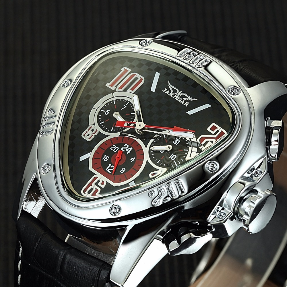 JARAGAR Luxury Triangle Dial Mens Mechanical Watches Auto Date 24 Hour Display Automatic Mechanical Self Wind Clock Male Relogio 2016 jaragar fashion automatic mechanical men dress watches 24 hour week date solid dial leather band simple wristwatch gift