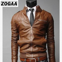 2019 New Fashion Mens Casual Stand Collar Slim  Leather Motorcycle Rider Jacket Coat Spring