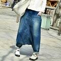 Women Causal Cross pants Jeans 2016 Summer Autumn Elastic Waist Trousers Ladies Denim Jeans Female Bleached Denim Trousers
