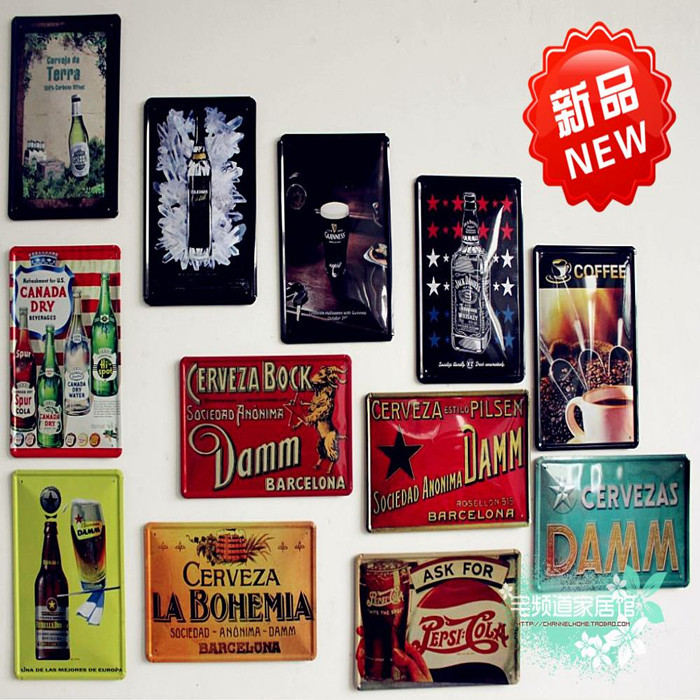Metal painting retro vintage beer finishing coffee wall for Poster deco cuisine