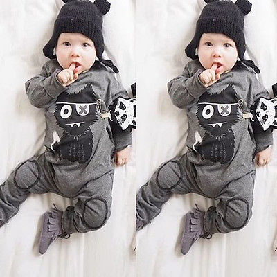 Cute Toddler Baby Boy Girl Clothes Cartoon Romper Bodysuit Playsuit Outfits Sportwear