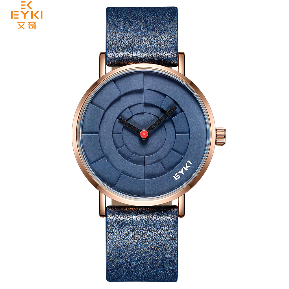 EYKI Brand Men Three-dimensional Dial Sport Watches Lover's Woman Simple Leather Creative Design Quartz Wrist Watch Black Clock fashion black turntable rectangle dial quartz sport wrist watch black pu leather boy men creative digital watches
