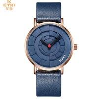 EYKI Brand Men Three Dimensional Dial Sport Watches Lover S Woman Simple Leather Creative Design Quartz
